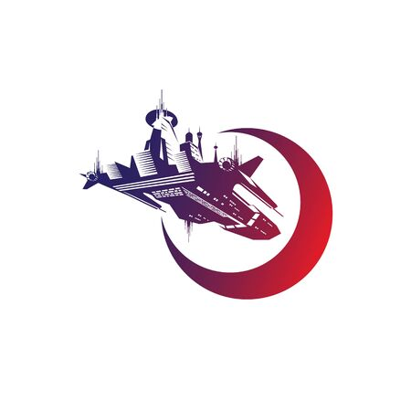 Space Ship logo. science fiction