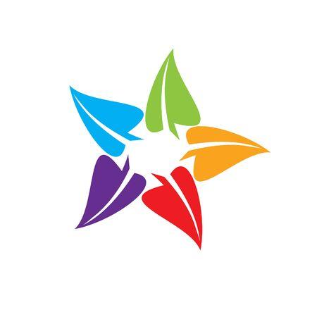 Star leaves logo icon. leaf star Иллюстрация