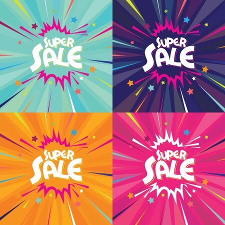 Super Sale Banner background design set Stock Vector - 130159282