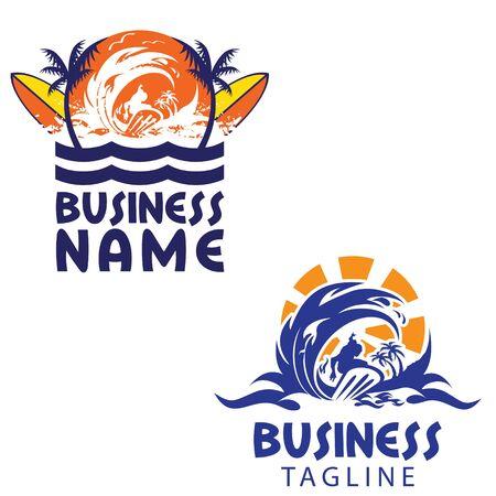 Surfing theme logo set vector Ilustração