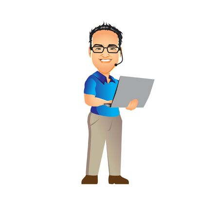 Tech Guy Nerd vector illustration