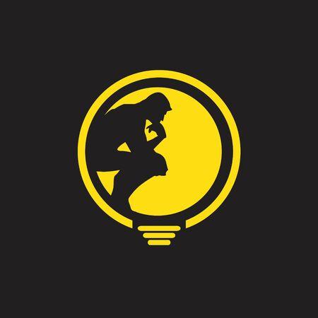 Thinker man logo. finding idea Ilustrace