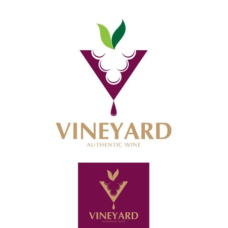 V logo, alphabet, Vineyard theme