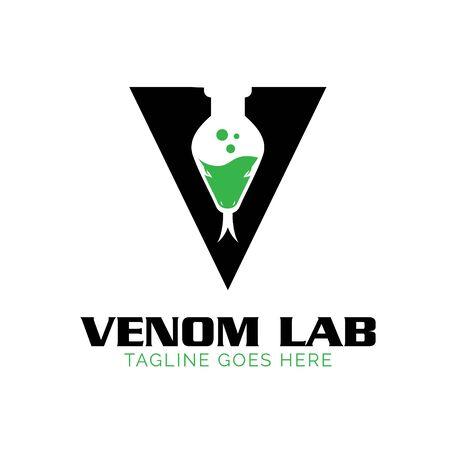 V Venom land Lab logo, Snake theme.