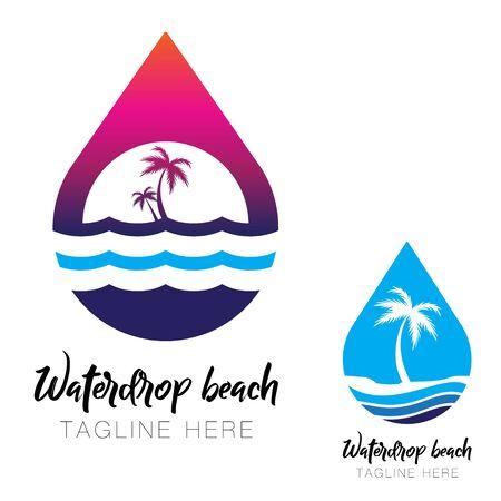 Waterdrop beach logo, icon vector. isolated. simple modern beach logo Ilustracja