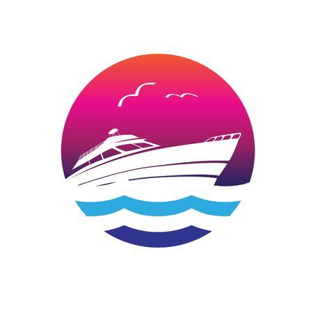 Yacht logo vector simple modern circle logo template