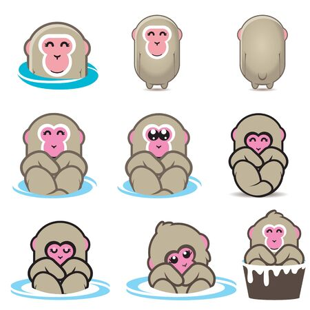 Snow Monkeys or Japanese Macaque character designs for logo, brand, merchandise