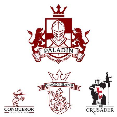 Knight theme logo set vector