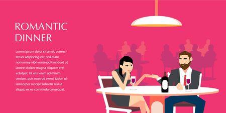Romantic Dinner flat illustration for commercial