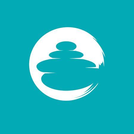 C logo letter based, calmness concept zen stones