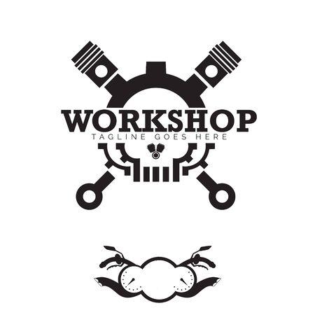 Automotives Workshop Skull logo, and bike panel Ilustracja