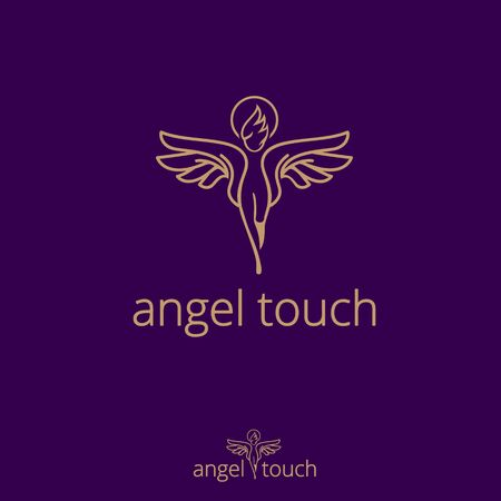 Angel Touch concept vector the  touching hands gesture as angel wings