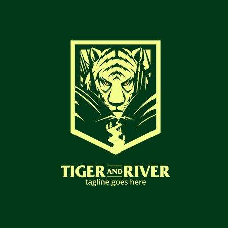 Crouching Tiger in the river vector illustration  イラスト・ベクター素材