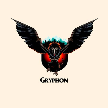 Gryphon Monster vector illustration insignia style all layers are separated and editable Vectores