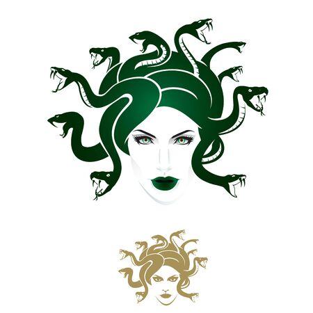El vector de cabeza de Medusa se puede utilizar como logotipo, gráfico de camiseta o cualquier otro propósito, versión monocromática incluida