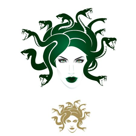 Medusa-hoofdvector kan worden gebruikt als logo, t-shirtafbeelding of elke andere monochrome versie inbegrepen