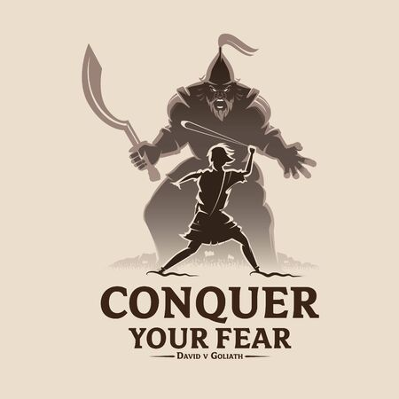 Conquer your fear David and Goliath vector illustration for t-shirt design, poster, banner or any other purpose. Vettoriali