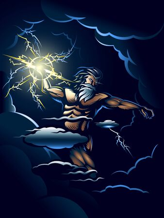 The Wrath of Zeus illustration poster editable vector for t shirt graphic, poster print, or any other purpose.