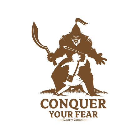Conquer your fear David and Goliath concept vector illustration monochrome version for logo t-shirt design or any other purpose
