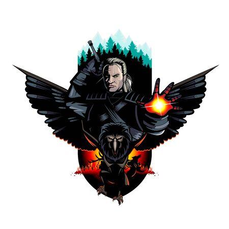 Bearbeitbare Vektorillustration des Kriegers und der Bestien Vektorgrafik