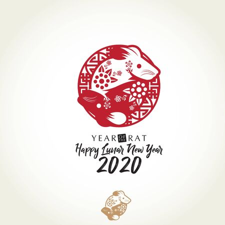 Year of Rat Chinese new year in Yin and Yang shape vector illustration