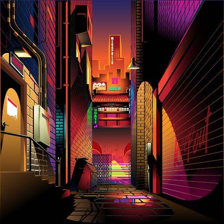 Alley at sunset vector illustration background Illustration