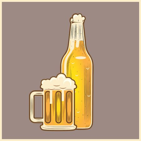 Beer glass and Bottle Vintage style vector illustration for design element, such as logo poster or any other purpose