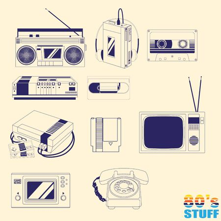 80 stuff version 1 outline style vector illustration