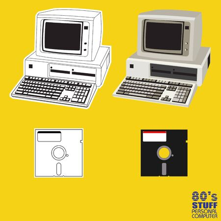 80s personal computer vector for design elements
