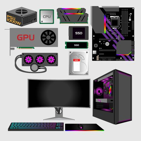 Gaming PC set vector illustration for infographic or design elements