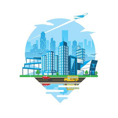 Cityscape Emblem Daylight version vector flat illustration style