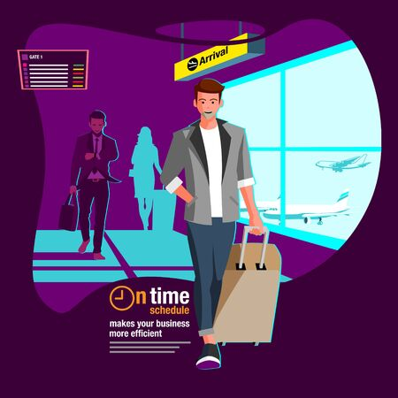 Arrival at the airport terminal  vector flat illustration for advertisement  web banner or any other purpose