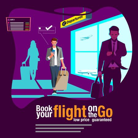 booking ticket on the go vector flat illustration for advertisement or any other purpose  イラスト・ベクター素材