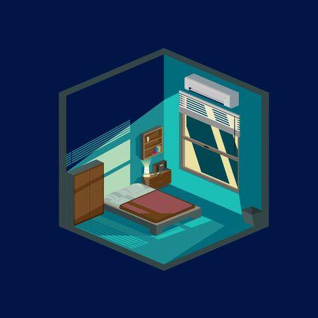 Bedroom at night flat illustration vector