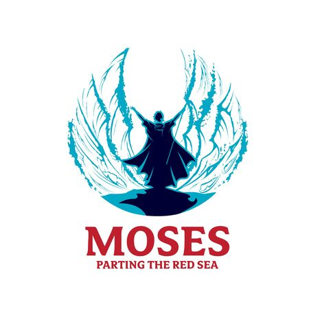 Moses Parting the red Sea vector illustration for poster, t-shirt graphic, logo or any other purpose
