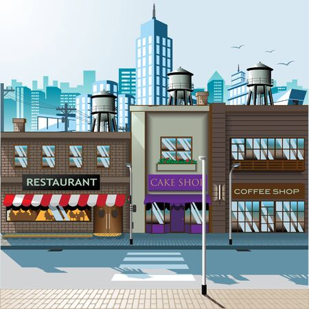 Shopping Street daylight  baclground vector illustration