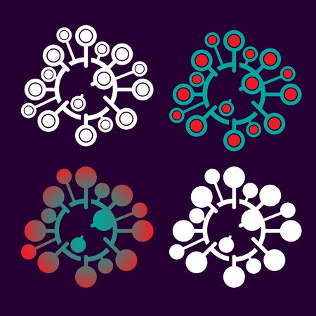 Corona Virus symbol set vector illustration for commercial use  イラスト・ベクター素材