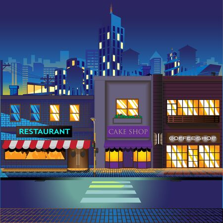 Shopping Street at night background vector illustration  イラスト・ベクター素材