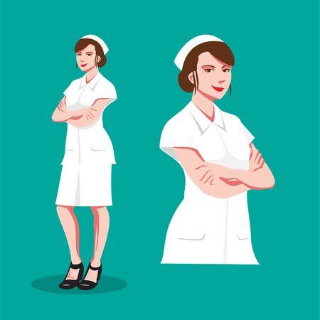Nurse version 2 vector flat illustration close up and full figure set