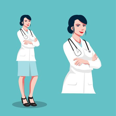 Doctor female vector flat illustration   close up and full figure set