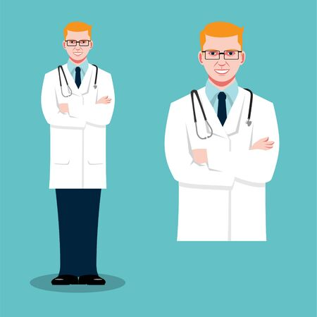 Doctor male vector flat illustration  close up and full figure set