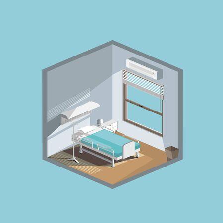Hospital room flat illustration vector isometric style