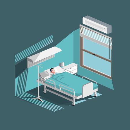 sick man flat illustration vector isometric style 向量圖像
