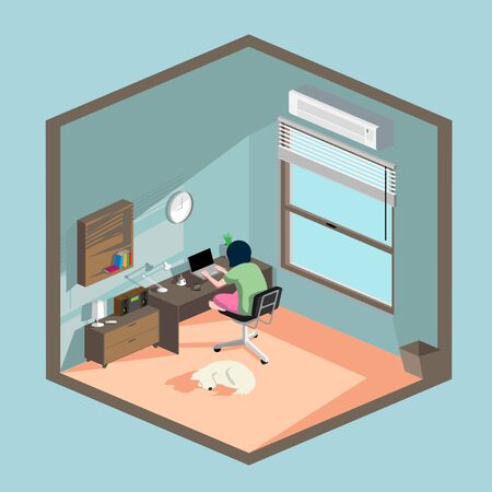 Work from Home vector flat illustration