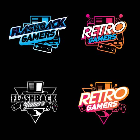 Retro Flashback Gamers identity vector
