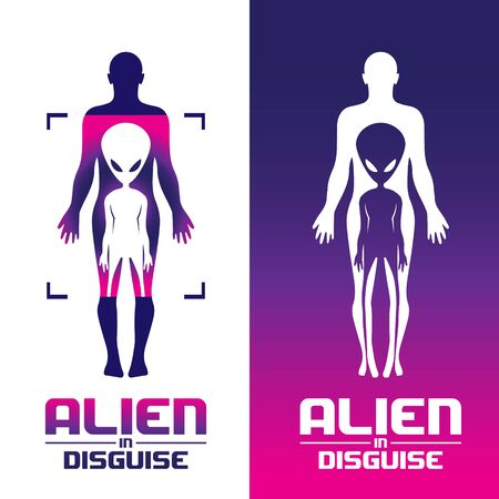 Alien in Disguise concept volume 1 set vector for commercial use. available in 2 variations  イラスト・ベクター素材