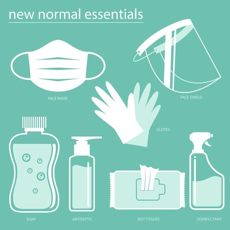 New Normal Essentials set vector icons for commercial use