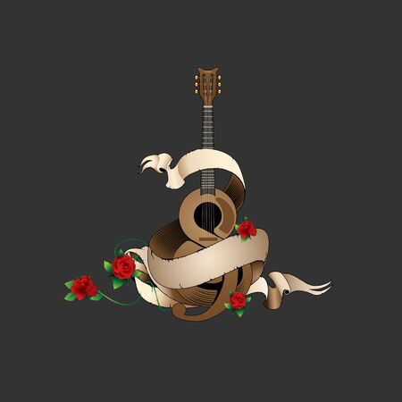 Guitar and Roses vector illustration for commercial use such as logo, tshirt print, etc
