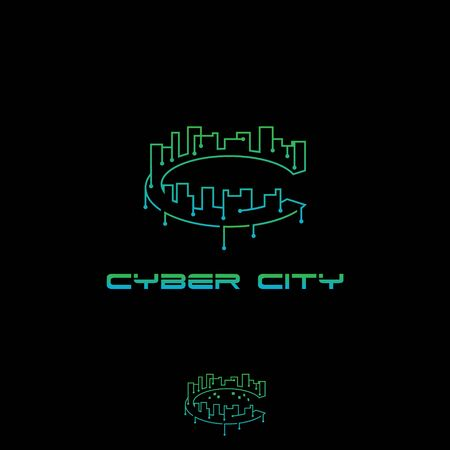 C letter Cyber City vector symbol template for commercial use  イラスト・ベクター素材