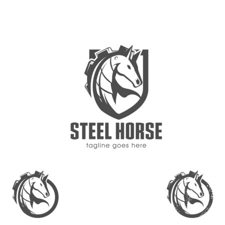 Steel Horse vector symbol the mane shaped as cog